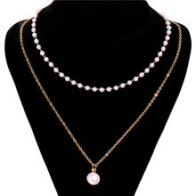 Korean Style Gold Sliver Color Pearl Necklace for Women Multi Layer Beads Pendant Necklace Female Jewelry Fashion Statement