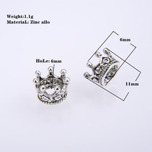 10PCS/ packsge DIY NEW Charm Silver Gold Alloy The queen king crown Bead Silver Loose Beads Spacer Beads Needlework Beads For Jewelry Making недорого