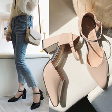 High-Heeled Women's Pointed And Thick-Heeled Buckle-Strap Single-Shoe New Spring Student Sandals  Gladiator Sandals Women heeled sandals las lolas heeled sandals