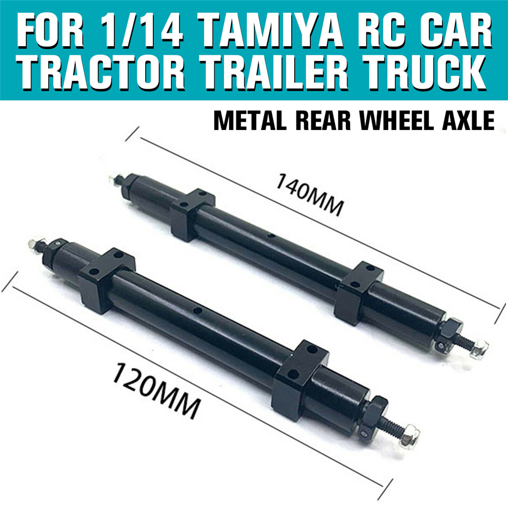 Metal Non-powered Rear Wheel Axle 120MM 140MM for <font><b>TAMIYA</b></font> 1/14 RC Tractor <font><b>Trailer</b></font> RC Truck Spare <font><b>Parts</b></font> image