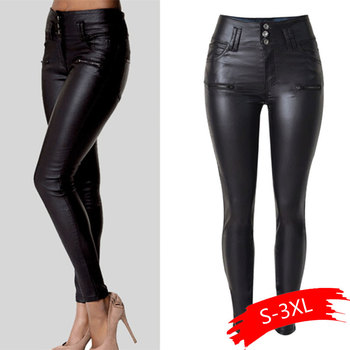 Women Pu Leather Pants Black Sexy Stretch Bodycon Trousers Women High Waist Long Pants