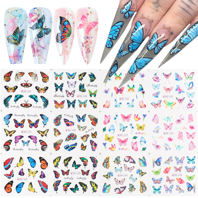 12pcs Butterfly Sticker Nails Slider Decals Blue Girl Design Manicure Art Decoration Set Full Wraps Tips Big Size CHBN1657-