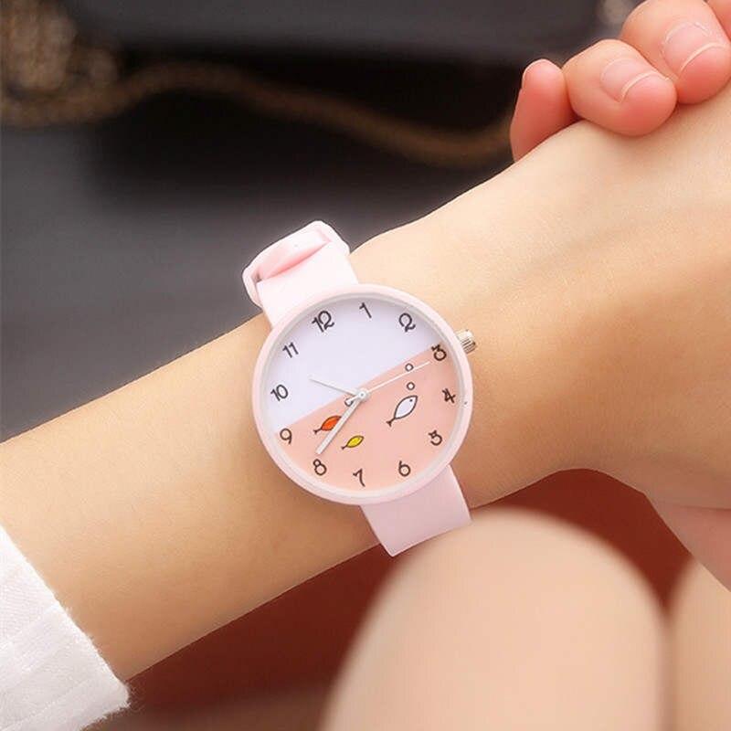 Cartoon Children's Watch Pink Silicone Fish Student Wristwatch Baby Design Quartz Clock Safety Kid Birthday Gift Watches Lovely