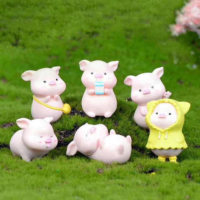 6Pcs/Set Pig Family figurine Animal Model Moss Micro Landscape Home Decor Miniature Fairy garden Decoration Baby Room Decoration 1