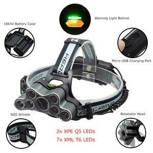 Image 2 - 強力な 9 LED USB ヘッドランプ 25000 Lm XML T6 Q5 Led ヘッドトーチ額ライトフロント懐中電灯 18650 ヘッドライト + USB ケーブル