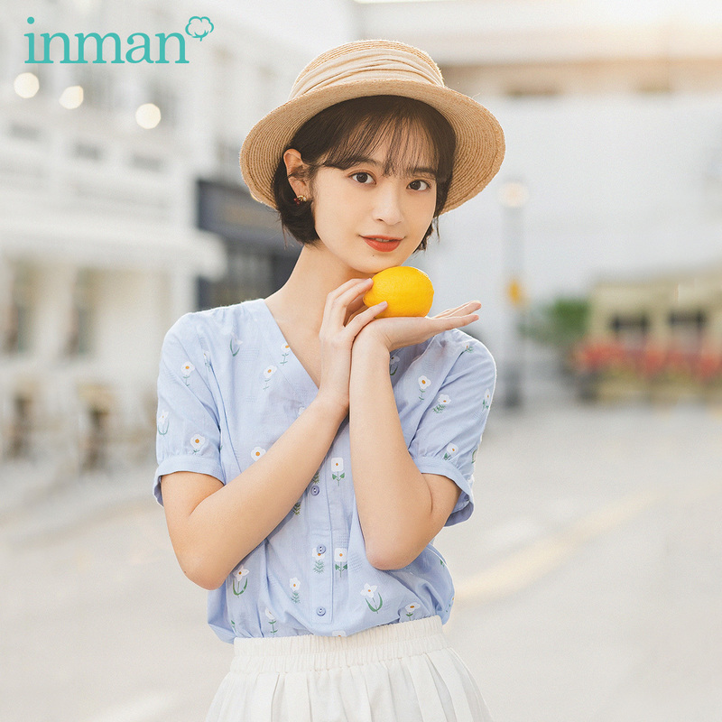 INMAN 2020 Summer New Arrival Pure Cotton Literary Flower Printed V-neck Short Sleeve Blouse