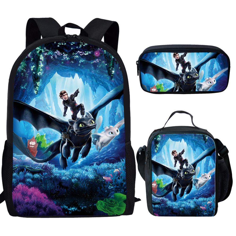 3Pcs/Set How To Train Your Dragon 3 Print School Bags For Boys Girls Kids Backpack Teens Child Bookbags+Lunch Box+Pencil Case