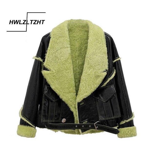 HWLZLTZHT 2021 New Pu Leather Thick Big Size Jacket Lapel Long Sleeve Women Coat Winter Short Parkas Vintage Casual Outerwear 1