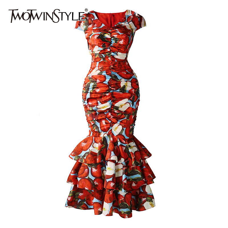 TWOTWINSTYLE Vintage Print Women Dress V Neck Short Sleeve Patchwork Cascading Ruffles Dresses Female Fashion Clothing 2020 Tide