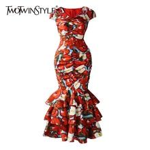 TWOTWINSTYLE Vintage Print Women Dress V Neck Short Sleeve Patchwork Cascading R