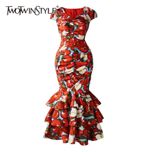 TWOTWINSTYLE Vintage Print Women Dress V Neck Short Sleeve P