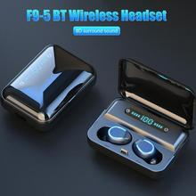 F9 5 TWS kablosuz BT 5.0 müzik Stereo kulak içi kulaklık spor Bluetooth U tipi kulaklık dijital ekran şarj durumda