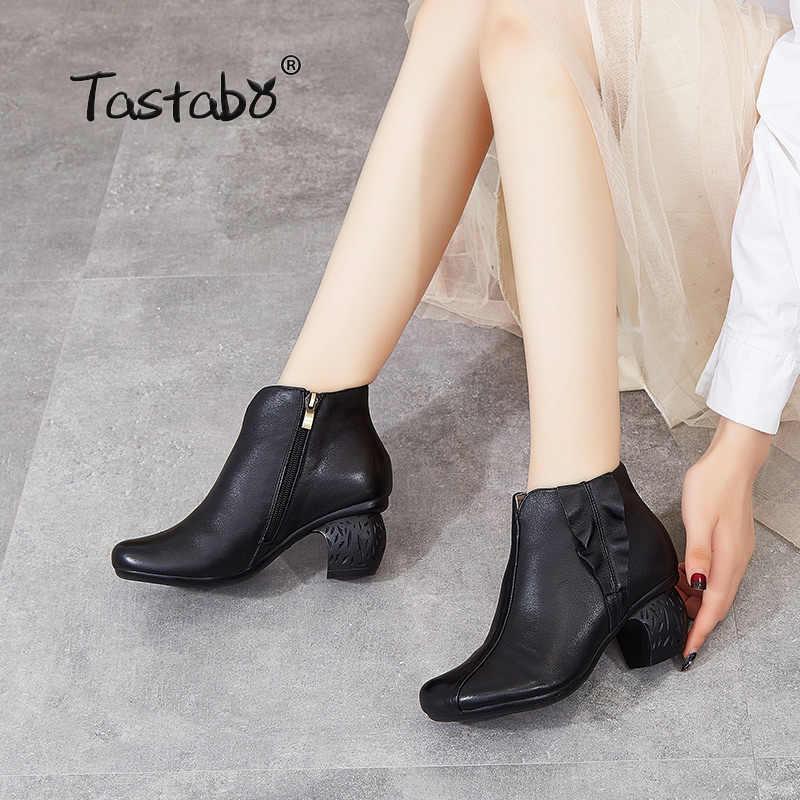 Tastabo manuel hakiki deri yüksek topuk bayan botları siyah kahverengi kırmızı şarap Vintage doku S3655-1 rahat kadın ayakkabısı