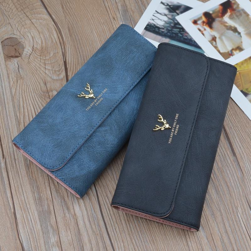 Модный Удобный женский кошелек в европейском и американском стиле с крышкой, длинный однотонный кошелек из искусственной кожи с нескольким...