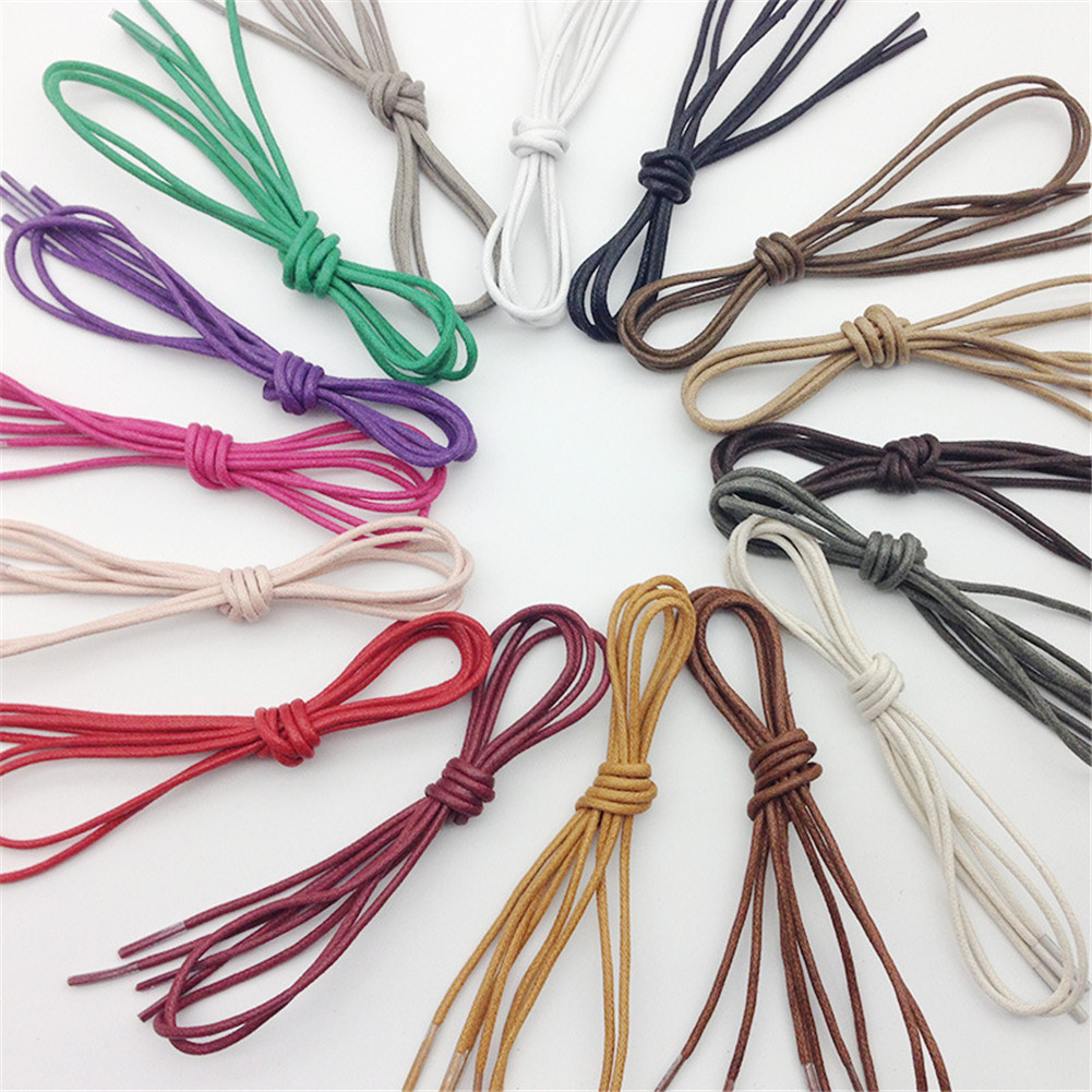 1Pair Waxed Coloured Shoelaces For Leather Shoes Laces Round Strings Martin Boots Sport Shoes Cord Ropes 16 Colors