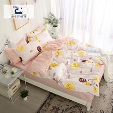 Liv-Esthete Fashion Bedding Set Bedspread Bed Flat Sheet Linen Double Queen Adult Decor Home Textiles Duvet Cover 3/4pcs