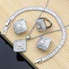 Kauçuk boya gümüş 925 takı beyaz kübik zirkonya takı setleri kadınlar için parti küpe/kolye/yüzük/bilezik/Kolye seti