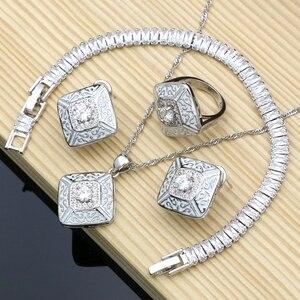 Image 1 - Kauçuk boya gümüş 925 takı beyaz kübik zirkonya takı setleri kadınlar için parti küpe/kolye/yüzük/bilezik/Kolye seti