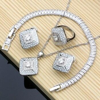 Pintura de goma plata 925, joyería de Zirconia cúbica blanca, conjuntos de joyería para mujeres, pendientes/colgantes/anillos/pulsera/juego de collar