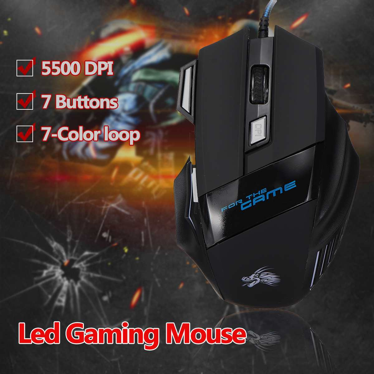 Ergonomic Colorful Backlit USB Wired Gaming Mouse 7 Button 5500DPI For Laptop PC