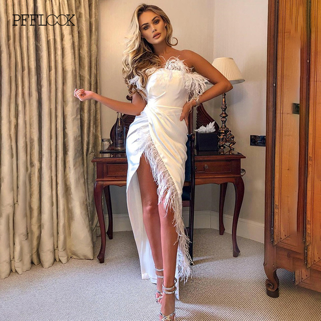 PFFLOOK Summer Elegant Satin Feather Dress Pleate Women Off Shoulder Split Irregular Sexy Party Dresses Midi Long Dress Vestidos 2