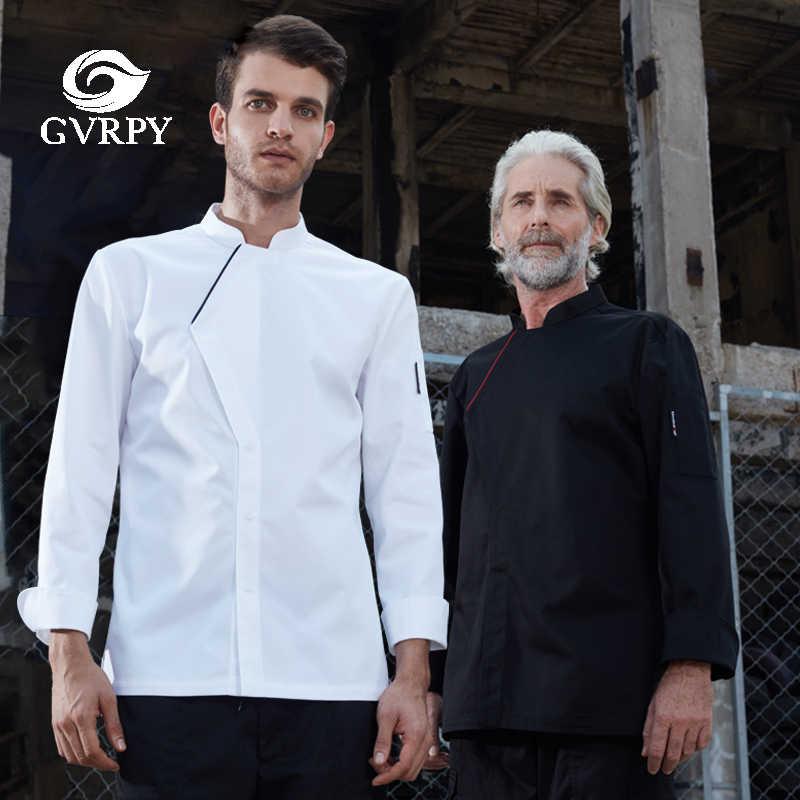 Длинный рукав шеф униформа для мужчин черный кухонный поварской китель Отель Ресторан кафетерий выпечки парикмахерские салон работа официанта рубашка