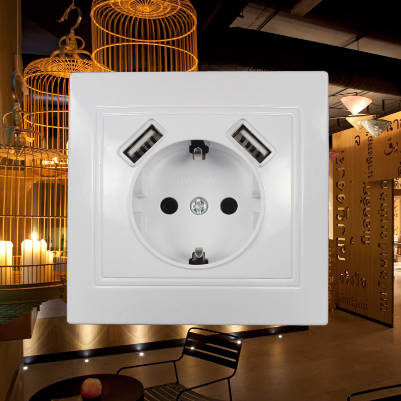 USB Wall Socket Charger Free Shipping Double USB Port 5V 2A Usb Enchufes Para Pared Prise High Quality White Color LM-01 TDM IEK