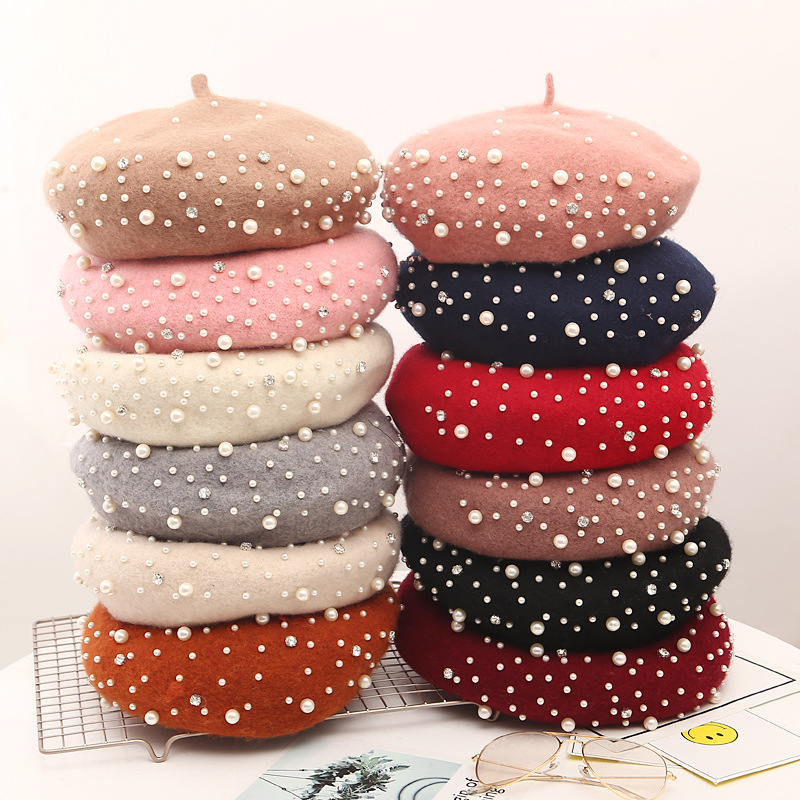 2019 Autumn And Winter Pearl Wool Beret British Retro Wool Pearl Wool Beret Wild Pumpkin Hat