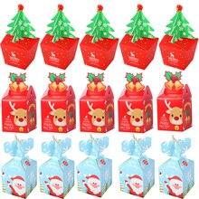 Adornos con letras Merry Christmas Cajas de Regalo de Santa Claus, árbol de Navidad bolsas de embalaje de Año Nuevo de 2019, bolsas de dulces de Navidad 2019 kerst