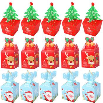 Dekoracje na boże narodzenie pudełka na prezenty święty mikołaj choinka torby do pakowania nowy rok 2019 świąteczne torebki na cukierki Navidad 2019 kerst tanie i dobre opinie cyuan CN (pochodzenie) Torebki na prezenty i Świeczki Papercard 5pcs 12pcs 20pcs Santa snowman house tree Christmas Gift Box