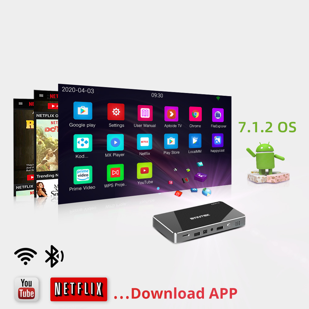 Byintek P10 smart android wifi mini pico projetor de bolso portátil beamer led dlp laser móvel 1080p para smartphone 4k 3d cinema-2