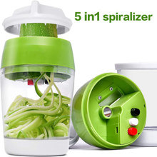 Handheld Spiralizer Vegetable Fruit Slicer 5 in 1 Adjustable Spiral Grater Cutter Salad Tools Zucchini Noodle Spaghetti Maker