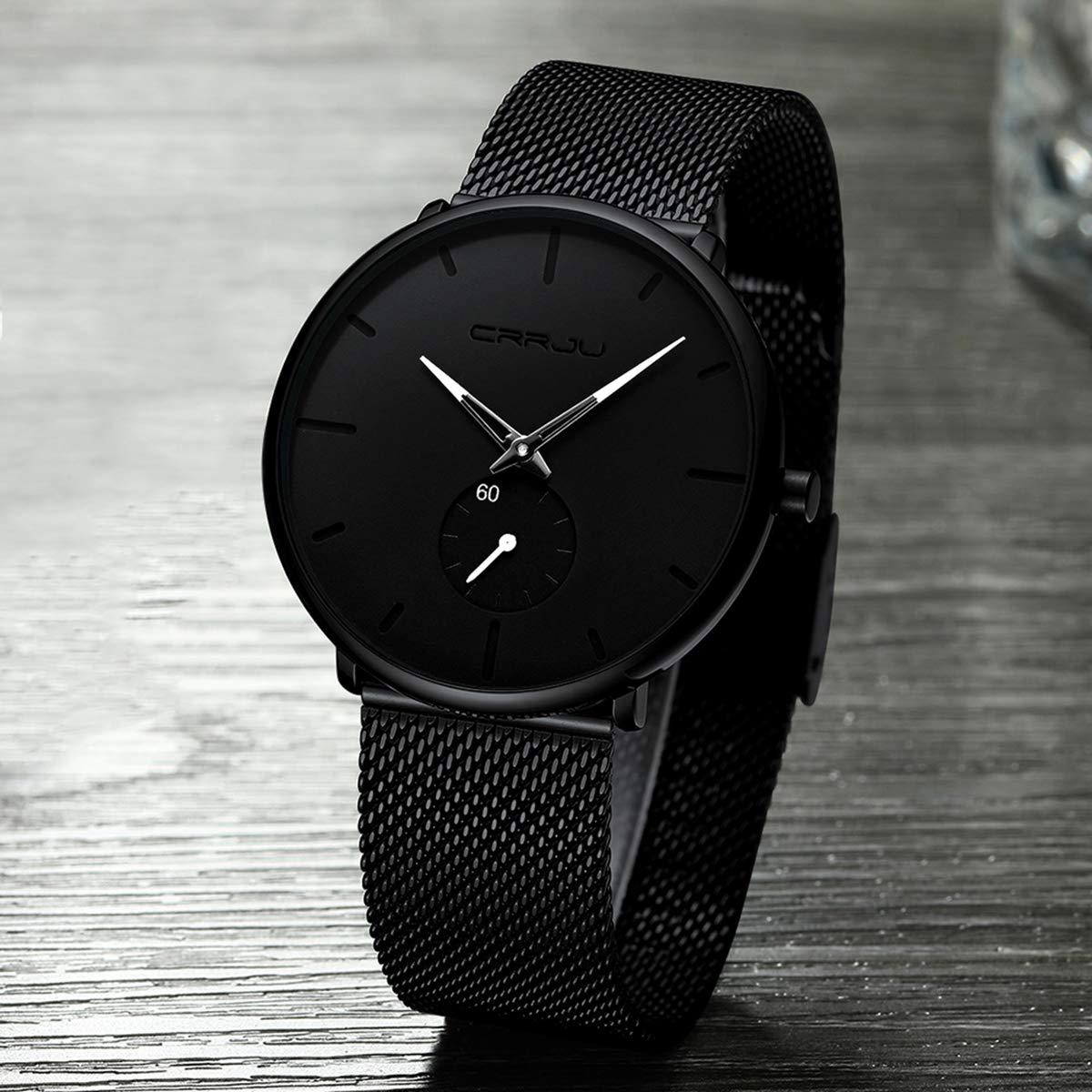 H4537ee3eccf64781b45e296bcd06154ec CRRJU Ultra Thin Blue Stainless steel Quartz Watches Men Simple Fashion Business Japan Wristwatch Clock Male Relogio Masculino