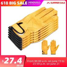 HENDUGLS Cowhide Work Gloves Yellow Men Hand Soft Construction Site Safety Leather Working Gloves Suit 5pcs Free Shipping 527NP