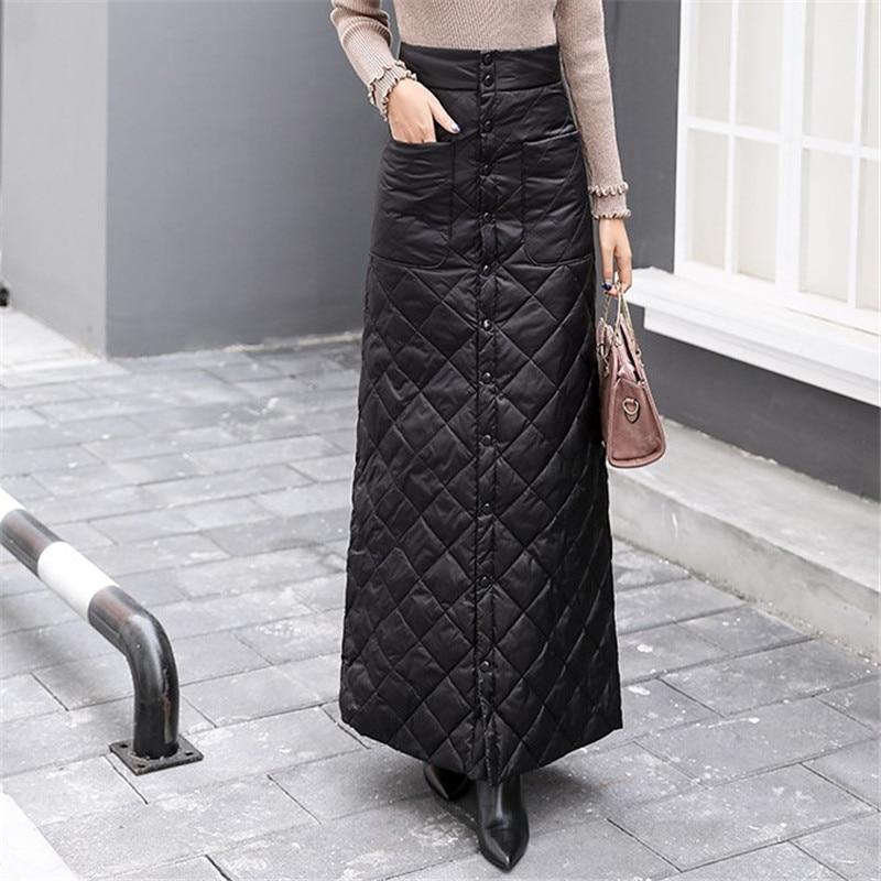 Длинная юбка женская зимняя мода высокой талией на пуговицах хлопчатобумажные юбки женские плюс размер толстая теплая юбка макси клетчатые юбки DS50859