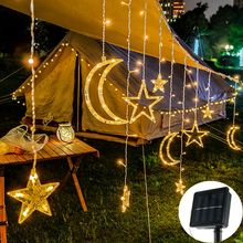 Lmpada solar estrela lua fada cortina luzes da corda guirlanda de natal par bar festa casamento casa jardim ptio janela decor