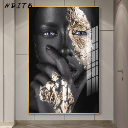Africa Golden Dark Skin Woman Abstract Painting Fashion Beauty Makeup Poster Canvas Print Wall Art Picture Modern Home Decor