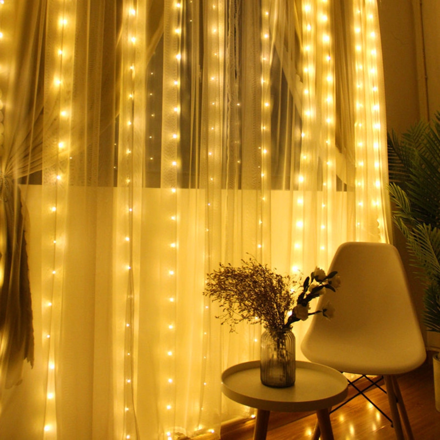 Thrisdar 3*2M 3* 3*3M 6*3M LED Window Curtain String Light Wedding Party Christmas Bedroom Wall Curtain Icicle Garland Light