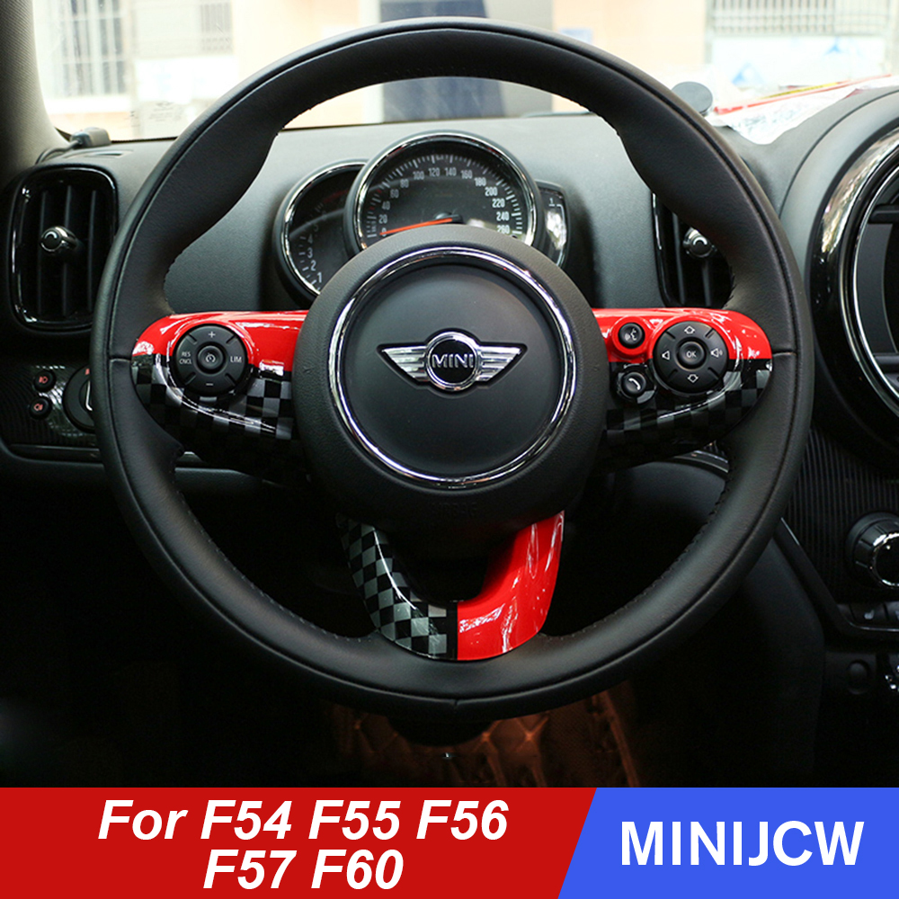 Car Styling Steering Wheel Case Sticker Cover for Mini Cooper One S JCW F54 Clubman F55 F56 F60 Countryman Car accessories