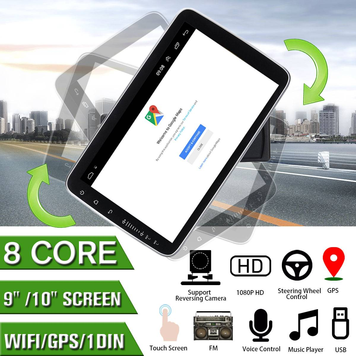 <font><b>9/10</b></font> Inch Car Multimedia Player <font><b>8</b></font> Core 16/32G for <font><b>Android</b></font> <font><b>8</b></font>.0/<font><b>8</b></font>.<font><b>1</b></font> with 360 Degree Rotatable Screen GPS WiFi Radio Player image
