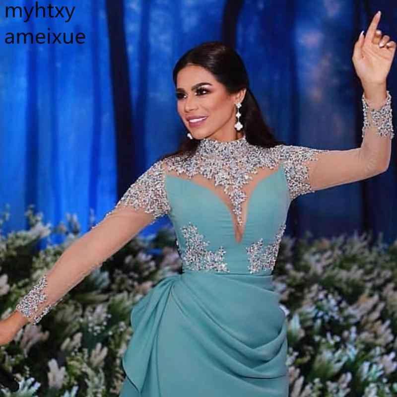 2019 Новое поступление вечерних платьев с длинными рукавами 2019 ручная вышивка стразами халат De Soiree Musulman Вечерние Нарядные платья для вечеринок арабский плюс размер