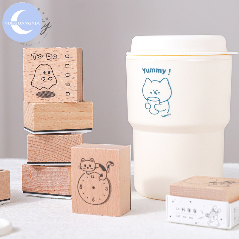 YueGuangXia 8 Designs Yummy Cute Cat Sketch Wooden Rubber Stamps For Scrapbooking Decoration DIY Craft Standard Wooden Stamps