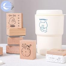 YueGuangXia 8 дизайнов вкусные милые кошки эскиз деревянные резиновые штампы для украшения скрапбукинг DIY ремесло стандартные деревянные штампы