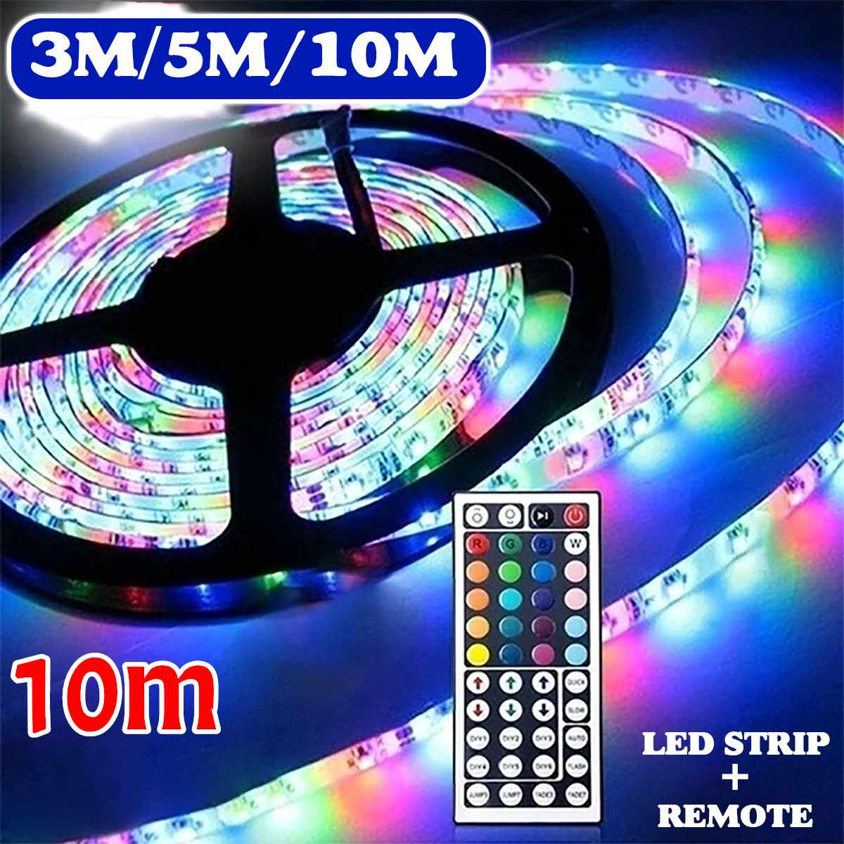 600 LED 3528 SMD RGB Strip Light String Tape 3/5/10M 12V Non-waterproof + 44 Key IR Remote Control For Under Cabinet Decor