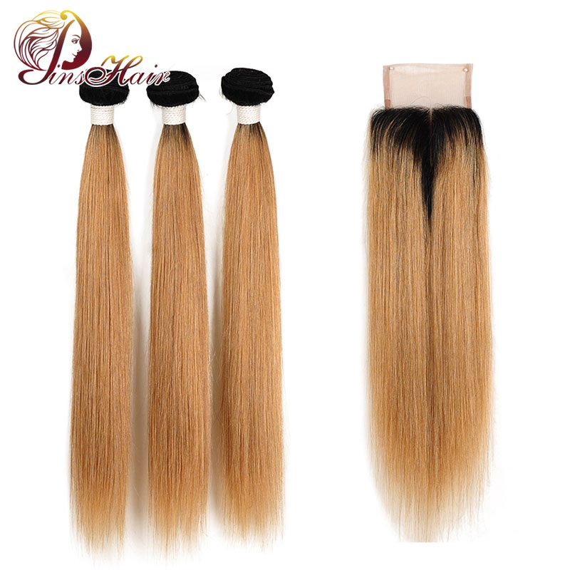 Pinshair Honey 1B 27 Ombre 3 Bundles With Closure Brazilian Straight Hair Blonde Bundles With Closure Canbe Restyle Nonremy Hair