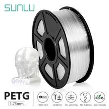 Sunlu petg 3d impressora filamento 1.75mm alta transparência branco plástico tolerância +/-0.02mm para diy presente impressão transporte rápido