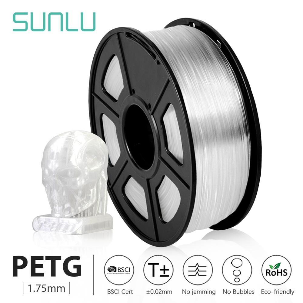 SUNLU PETG 3D Printer Filament 1.75mm Transparent White Plastic Tolerance+--0.02mm for DIY gift prin