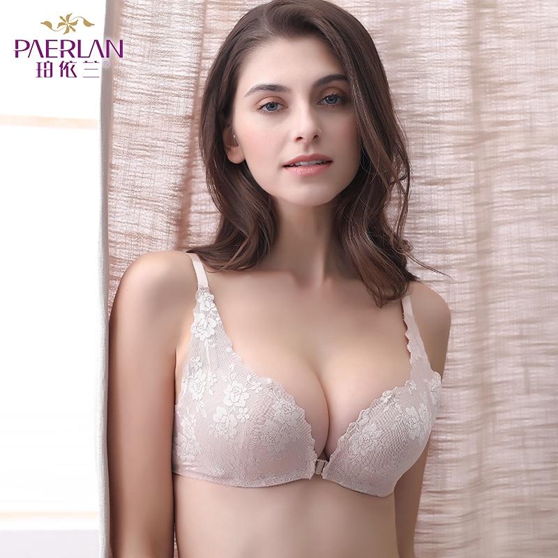 PAERLAN Sexy Bra Boobs Front-Closure Push-Up Underwear Women Seamless-Wire Free-Lace