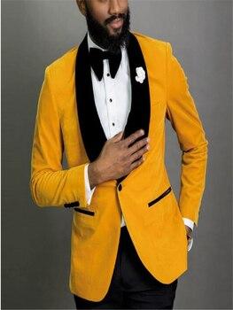 Nuevo 2 piezas chal solapa trajes de boda para hombres ventilación lateral novio trajes de padrinos de boda esmoquin chaqueta + Pa