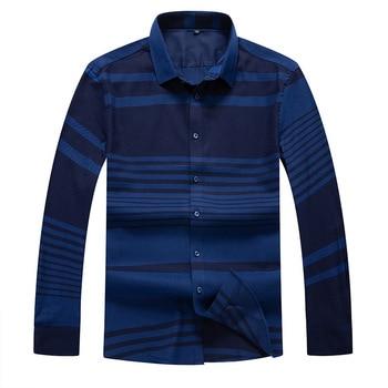 Autumn Men Long Sleeve Shirt Stripes Shirt Tide Outfit Big Size Leisure Grid Inch Shirt